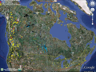 Current Fire Map Canada Fire Data in Google Earth
